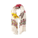 COACH Women's Floral Patchwork Oblong Chalk Multi Scarf
