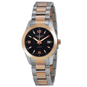 Longines Conquest Classic Black Dial Stainless Steel and 18kt Rose Gold Ladies Watch