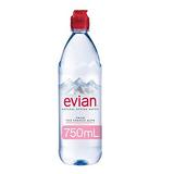 evian Natural Spring Water 750 ml Sport Cap, 12 Count