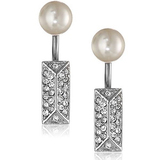 Rebecca Minkoff Silver Pave Pearl Two Part Post Earrings