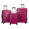 Rockland Melbourne 3 Piece Abs Luggage Set, Magenta