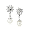 Amazon Collection Platinum Plated Sterling Silver Pearl Drop Earrings