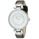Anne Klein Modern Leather Strap Watch - Black