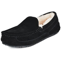 DREAM PAIRS Men's Black Suede Sheepskin Fur Slippers Loafers