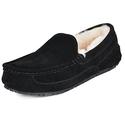 DREAM PAIRS Men's Black Suede Sheepskin Fur Slippers Loafers