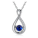 Caperci Sterling Silver 1ct Sapphire Infinity Pendant Necklace