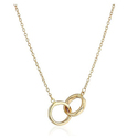 14k Yellow Gold Polished Interlocking Rings Necklace, 17""