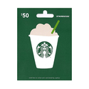 $50 Starbucks 星巴克礼卡 + $5 Amazon 礼卡