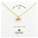 Dogeared Rainbow Charm Enamel Pendant Gold Chain Necklace