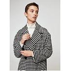 格纹羊毛混纺大衣