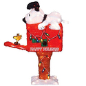ProductWorks 36-Inch Pre-Lit Peanuts Snoopy on the Mailbox Animated Christmas Yard Decoration, 105 Lights