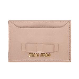 Ssense: 20% OFF on Miu Miu Pink Leather Bow Card Holder