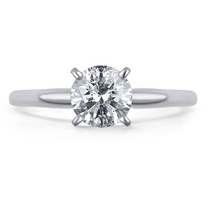 0.5 Carat T.W. Round White Diamond 14kt White Gold Solitaire Ring