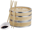 VonShef 高质量10寸竹制蒸笼2个+50张蒸笼纸