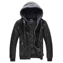 Wantdo Men's Leather Jacket with Removable Hood US Medium Black(Heavy)