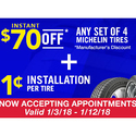 Costco: $70 OFF Any Set of 4 Michelin Tires and 1 ¢ Installation