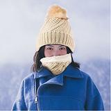 Women Knit Hat Winter Beanie with Pom Pom Slouchy Skull Cap