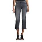 Crop Step Fray Jeans, Stripes