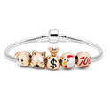 Fun Times 5 Emoji Charm Bracelet in 18K White Gold Plating