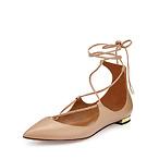 Aquazzura 系带尖头平底鞋