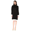 Calvin Klein Women's Sweater Dress with Shirting, Black, S