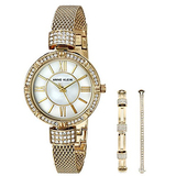 Anne Klein Women's AK/2844GBST Swarovski Crystal Accented Gold-Tone Mesh Bracelet Watch and Bangle Set