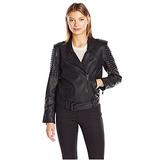 Calvin Klein Jeans Women's Heavy Metal Biker Jacket, Black, Medium