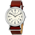 Timex Unisex T2P495 Weekender 40 Brown Leather Slip-Thru Strap Watch