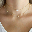 Dogeared Perfect Layer, Set of 2, Sparkle with Pearls Silver Chain Necklace