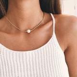 Dogeared 玫瑰金珍珠项链