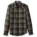 Calvin Klein Jeans Men's Long Sleeve Buffalo Brushed Plaid Button Down Shirt, Forest Night, Small