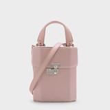 CHARLES & KEITH Boxy Push-Lock Handbag - Pink
