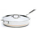 All-Clad 6406 SS Copper Core 5-Ply Bonded Dishwasher Safe Saute Pan with Lid / Cookware, 6-Quart, Silver