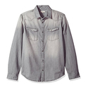 Calvin Klein Jeans Men's Long Sleeve Denim Western Button Down Shirt, Flat Gray, X-Large
