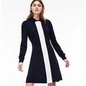 Lacoste Women's Long Sleeve Color Block Jersey/Wool Polo Dress