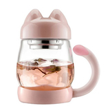 BZY1 14oz Glass Tea Cup with a Lid & Strainer