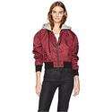 Hudson Jeans Women's Rogue Cropped Bomber With Hood, Burgundy Luster, SM