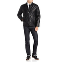 Perry Ellis Men's Lambskin Leather Open Bottom Jacket, Black, Medium