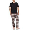 Nautica Men's Flannel Pant Tee Set, Black, Small