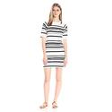French Connection Women's Joshua Stripe Dress, Summer White/Utility Blue, 4