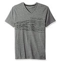 Calvin Klein Men's Short Sleeve HD Logo V-Neck T-Shirt, Grindle Heather, Medium