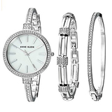 Anne Klein Women's AK/2847SVST Swarovski Crystal Accented Silver-Tone Watch and Bangle Set