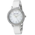 Anne Klein Women's AK/2349WTDB Swarovski Crystal Accented Silver-Tone and White Ceramic Bangle Watch