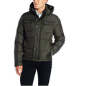 Levi's Men's Two Pocket Puffer Hooded Jacket, Olive, Medium