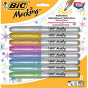 BIC Marking Permanent Marker, Metallic, Fine Point, Assorted Colors, 8-Count