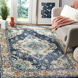Safavieh Monaco Collection Vintage Bohemian Navy and Light Blue Distressed Area Rug