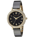 Anne Klein Women's AK/2348BKDB Swarovski Crystal Accented Gold-Tone and Black Ceramic Bangle Watch