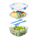 Sistema To Go Collection Salad to Go Food Storage Container, 37 oz, Blue