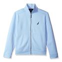 Nautica Men's Zip Front Mock Neck Sueded Sweatshirt, Noon Blue, Large