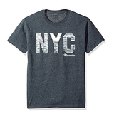 Champion Men's Classic Jersey Graphic T-Shirt, Charcoal Heather/City Walls, Large